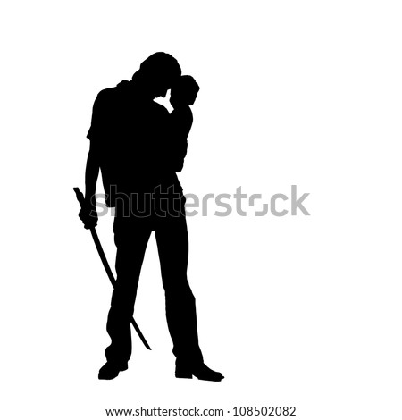 Father and baby. Silhouette of man warrior. He is standing, hugging a baby and holding a sword. The symbol of parental protection. Ready for your text, logo or symbol