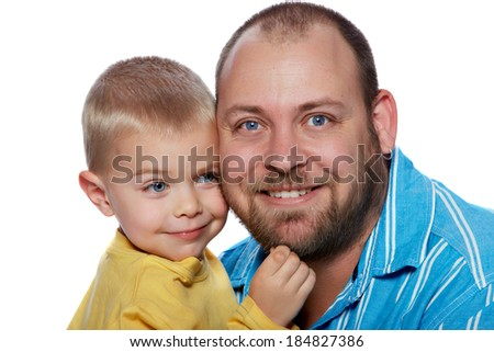 father and blond toddler boy in a close touch isolated portrait - stock photo