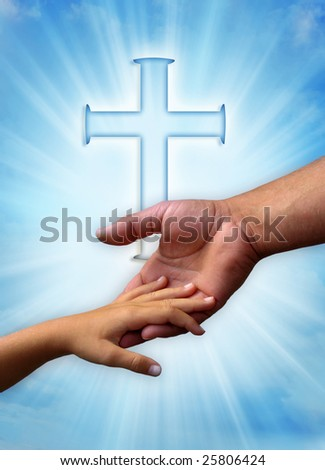 father and child in loving gesture over Christian cross and rays of light - stock photo