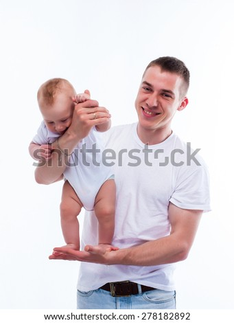 father and child studio white  - stock photo