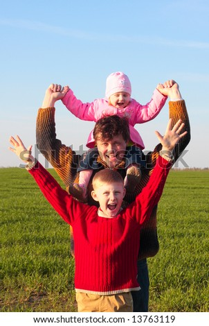 father and children outdoor