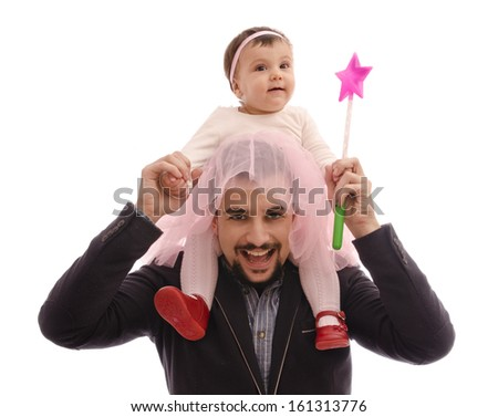 Father and cute baby with tutu  isolated on white. - stock photo