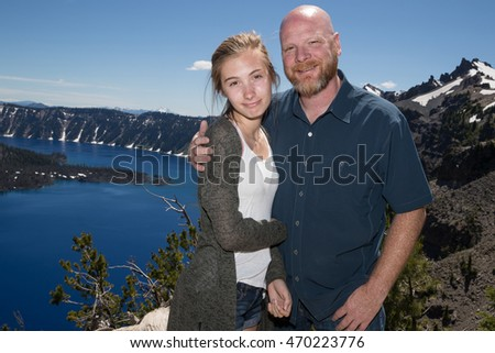 Father and Daughter at Crater Lake