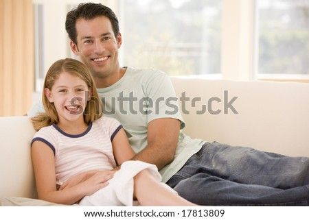 Father and daughter at home - stock photo