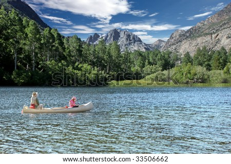 Father and Daughter Fishing in the Sierra Mountain Lakes