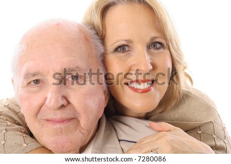father and daughter hug - stock photo
