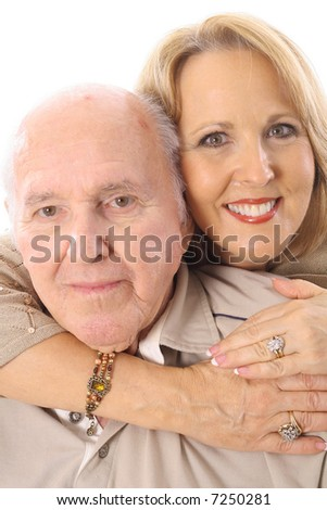 father and daughter hug vertical - stock photo