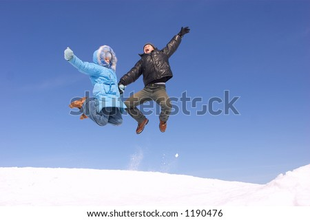 Father and daughter jumping - stock photo