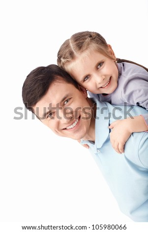 Father and daughter on a white background - stock photo