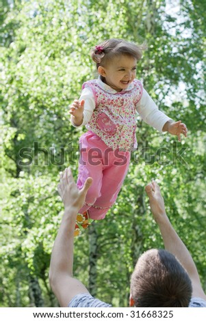 Father and daughter portrait - stock photo