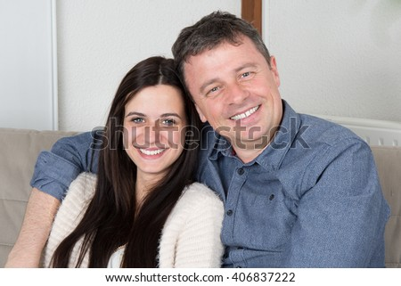 Father and daughter together at home - stock photo