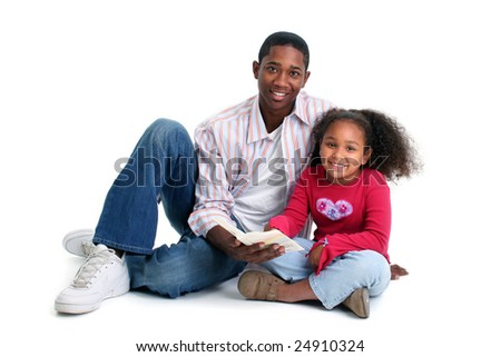 Father and daugther reading together over white background. - stock photo
