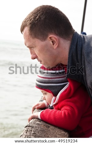 Father and duagther spending Sunday exploring Pacific Coean coast in California - stock photo