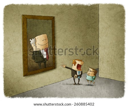 father and her son admiring portrait of his predecessor - stock photo
