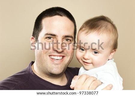 Father and 6 month son - stock photo