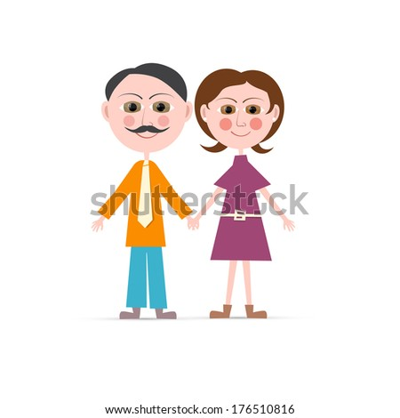 Father and Mother Illustration Isolated on white Background