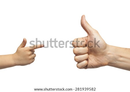father and son giving like and pointing, or gun gesture, on white background. Isolated
