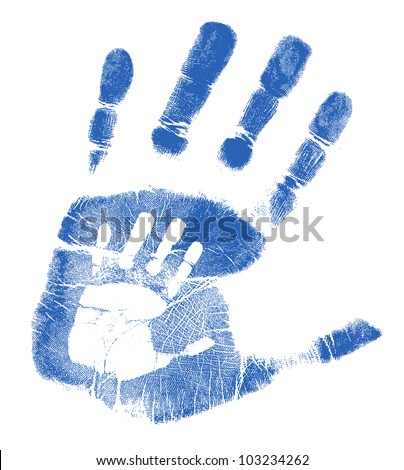 Father and son handprints illustration design over white - stock photo