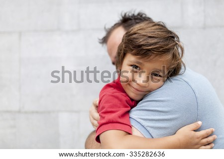 father and son happy - stock photo