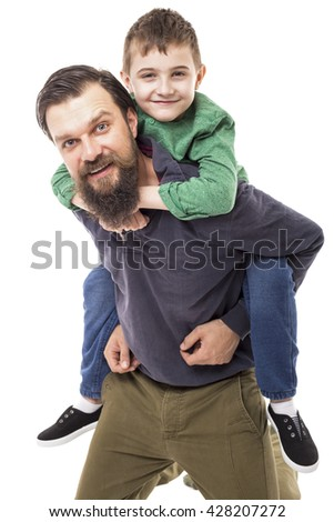 Father and son having fun isolated on white background - stock photo