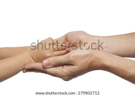 father and son holding hands on white background. isolated