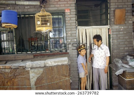 Father and son in Beijing in Hebei Province, People's Republic of China - stock photo