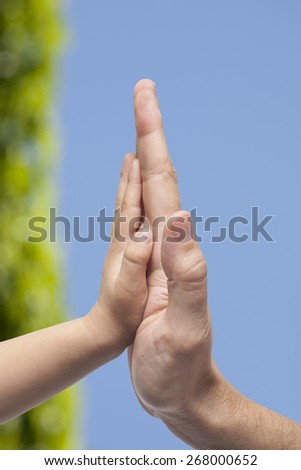 Father and son in high five gesture on blurred natural background - stock photo