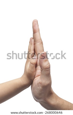 Father and son in high five gesture on white background - stock photo