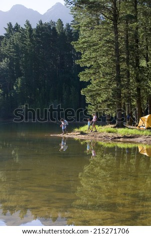 Father and son (8-10), in mid-distance, fishing in lake on camping trip, mother and daughter approaching - stock photo