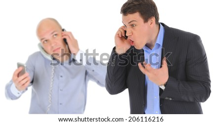 Father and son is arguing while talking over the telephone. Isolated on white background - stock photo