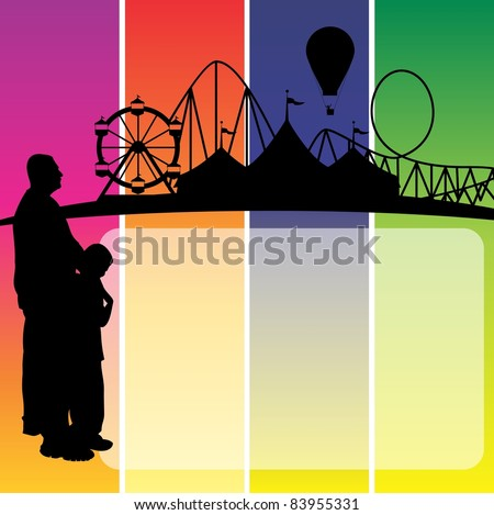 father and son looking at the circus in the distance with copy box.  Could be used for carnival signs - stock photo
