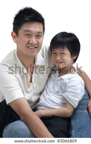 Father and son on white background