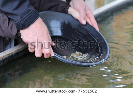 Father and son panning for gold at Hell's Gate, BC, Canada - stock photo