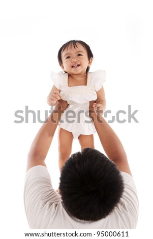 Father and son playing airplane over a white background - stock photo