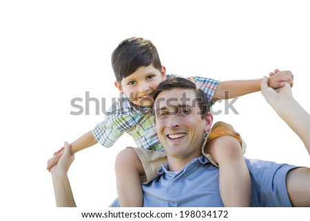 Father and Son Playing Piggyback Isolated on a White Background. - stock photo
