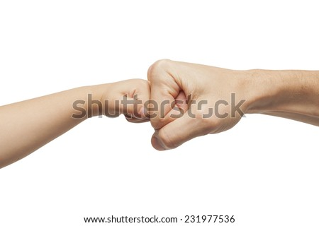 father and son punching for agreement on white background.