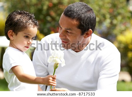 father and son sharing a nice moment outdoors