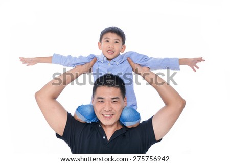 Father and Son-white background - stock photo