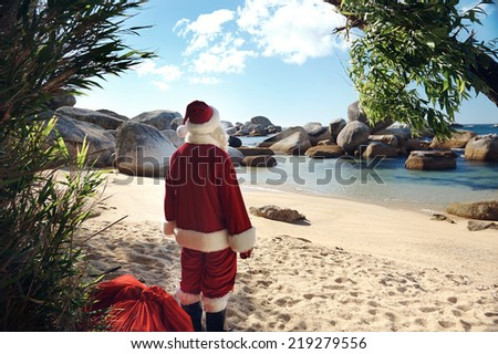 Father Christmas standing on a tropical beach admiring the view - stock photo