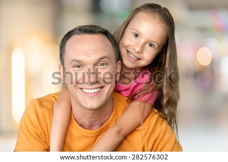 Father, Father's Day, Daughter. - stock photo