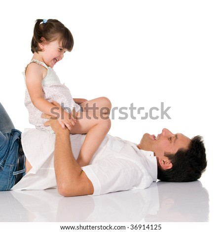 Father have fun with his adorable daughter isolated on white background - stock photo