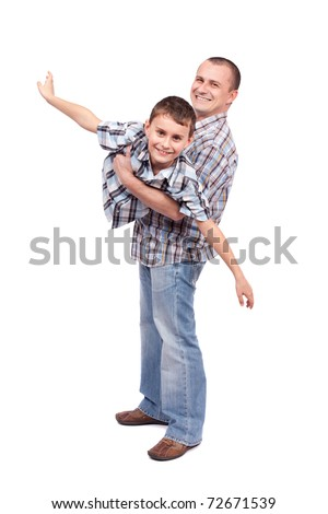 Father holding his son, isolated on white background - stock photo