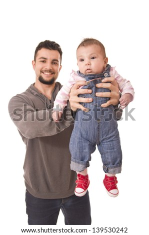 Father lifting baby. Isolated people over white. - stock photo