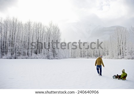 Father Pulling Son on Sled - stock photo