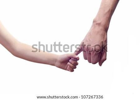 father's and child  hand Isolated on white background - stock photo