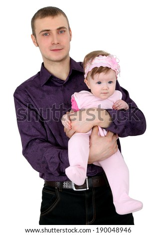 Father's daughter. Child in strong fathers hands on a white background.
