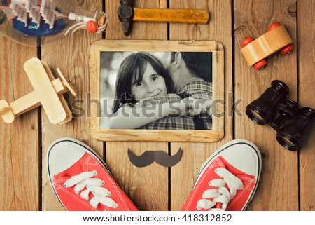 Father's day background with photo in wooden frame. View from above. Flat lay - stock photo