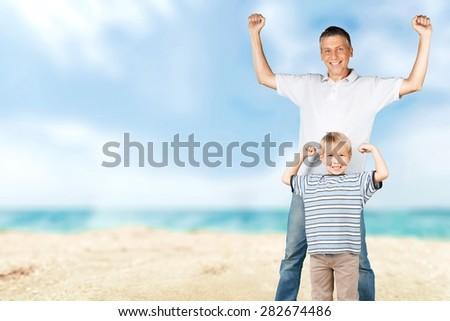 Father, son, white. - stock photo