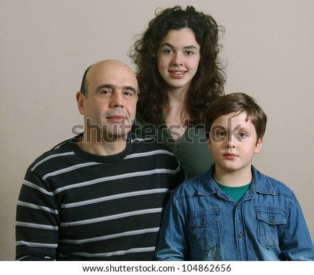 Father wit his children - stock photo