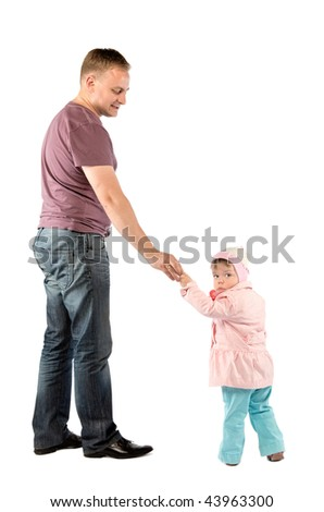 Father with daughter walking. Isolated on white
